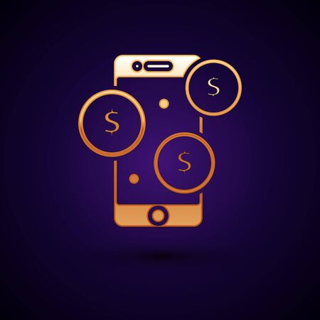 Gold Smartphone with dollar symbol icon isolated on dark blue background. Online shopping concept. Financial mobile phone icon. Online payment. Vector Illustration Stock Illustratie