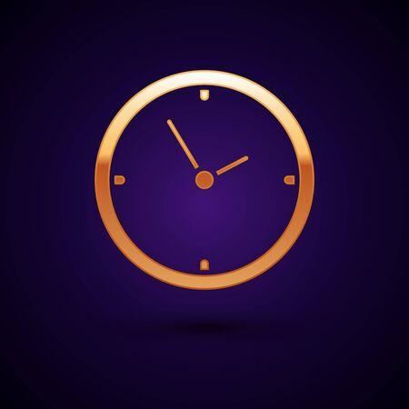 Gold Clock icon isolated on dark blue background. Time symbol. Vector Illustration Illustration