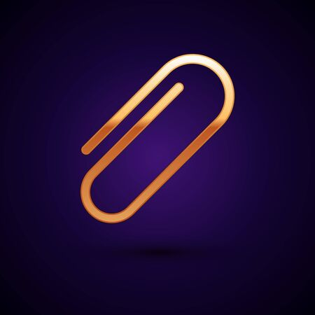 Gold Paper clip icon isolated on dark blue background. Vector Illustration