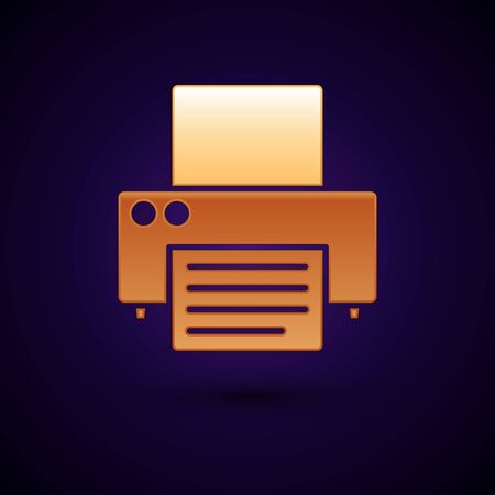 Gold Printer icon isolated on dark blue background. Vector Illustration