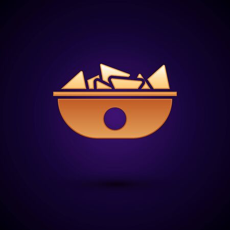 Gold Nachos in plate icon isolated on dark blue background. Tortilla chips or nachos tortillas. Traditional mexican fast food menu. Vector Illustration
