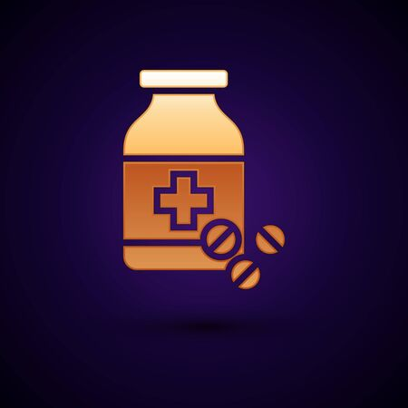 Gold Medicine bottle and pills icon isolated on dark blue background. Bottle pill sign. Pharmacy design. Vector Illustration