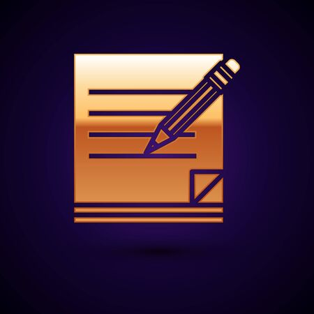Gold Blank notebook and pencil with eraser icon isolated on dark blue background. Paper and pencil. Vector Illustration Ilustração Vetorial