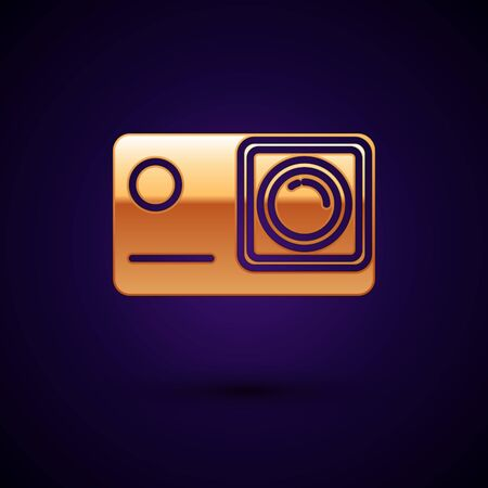 Gold Action extreme camera icon isolated on dark blue background. Video camera equipment for filming extreme sports. Vector Illustration Иллюстрация