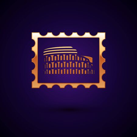 Gold Postal stamp and Coliseum icon isolated on dark blue background. Colosseum sign. Symbol of Ancient Rome, gladiator fights. Vector Illustration