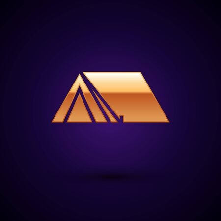 Gold Tourist tent icon isolated on dark blue background. Camping symbol. Vector Illustration