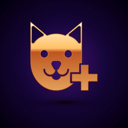 Gold Veterinary clinic symbol icon isolated on dark blue background. Cross with cat veterinary care. Pet First Aid sign. Vector Illustration
