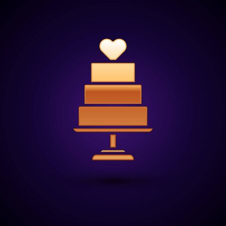 Gold Wedding cake with heart icon isolated on dark blue background.  Vector Illustration