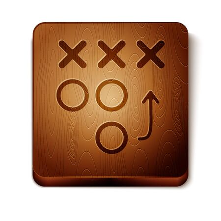 Brown Planning strategy concept icon isolated on white background. Soccer or american football cup formation and tactic. Wooden square button. Vector Illustration 일러스트