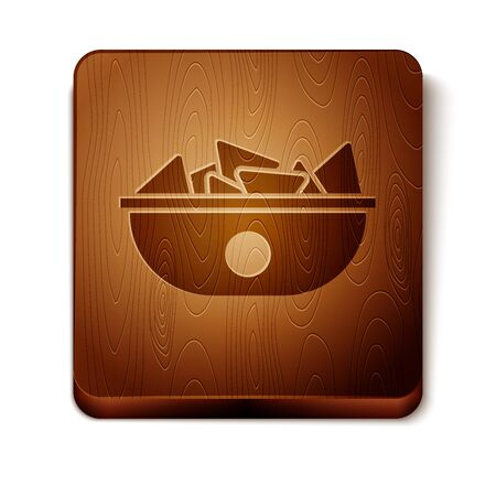 Brown Nachos in plate icon isolated on white background. Tortilla chips or nachos tortillas. Traditional mexican fast food menu. Wooden square button. Vector Illustration