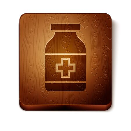 Brown Medicine bottle icon isolated on white background. Bottle pill sign. Pharmacy design. Wooden square button. Vector Illustration Vettoriali