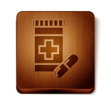 Brown Medicine bottle and pills icon isolated on white background. Bottle pill sign. Pharmacy design. Wooden square button. Vector Illustration