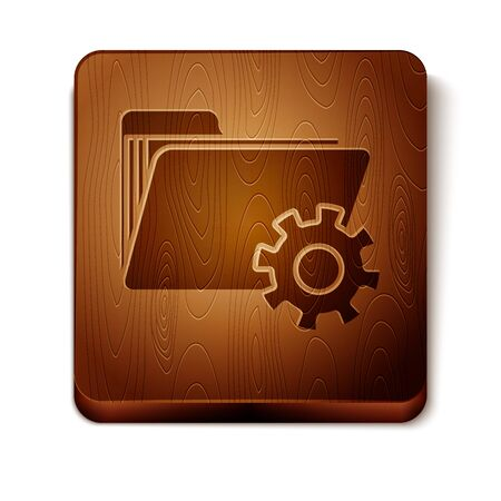 Brown Folder settings with gears icon isolated on white background. Software update, transfer protocol, teamwork tool management. Wooden square button. Vector Illustration