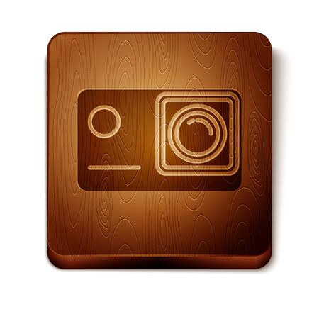Brown Action extreme camera icon isolated on white background. Video camera equipment for filming extreme sports. Wooden square button. Vector Illustration