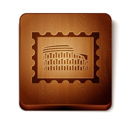 Brown Postal stamp and Coliseum icon isolated on white background. Colosseum sign. Symbol of Ancient Rome, gladiator fights. Wooden square button. Vector Illustration