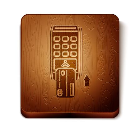 Brown Pos terminal with inserted credit card icon isolated on white background. Payment terminal transaction. Pay by card. Wooden square button. Vector Illustration 向量圖像