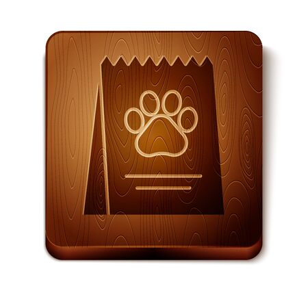 Brown Bag of food for dog icon isolated on white background. Dog or cat paw print. Food for animals. Pet food package. Wooden square button. Vector Illustration