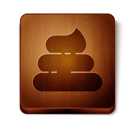 Brown Shit icon isolated on white background. Wooden square button. Vector Illustration