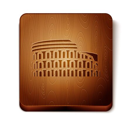 Brown Coliseum in Rome, Italy icon isolated on white background. Colosseum sign. Symbol of Ancient Rome, gladiator fights. Wooden square button. Vector Illustration