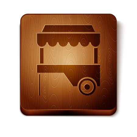 Brown Fast street food cart with awning icon isolated on white background. Urban kiosk. Wooden square button. Vector Illustration