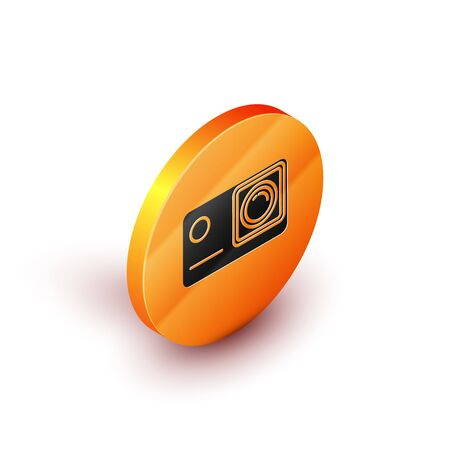 Isometric Action extreme camera icon isolated on white background. Video camera equipment for filming extreme sports. Orange circle button. Vector Illustration