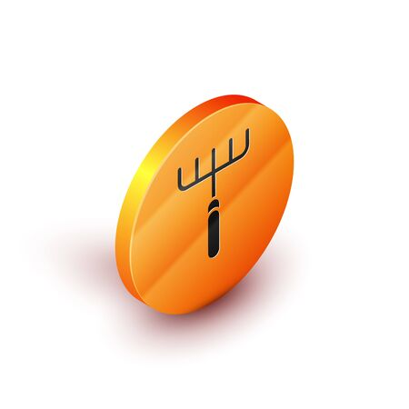 Isometric Garden rake icon isolated on white background. Tool for horticulture, agriculture, farming. Ground cultivator. Housekeeping equipment. Orange circle button. Vector Illustration