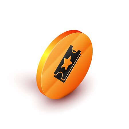 Isometric Ticket icon isolated on white background. Amusement park. Orange circle button. Vector Illustration