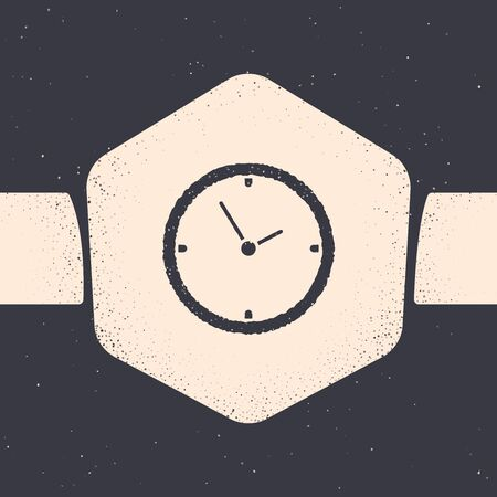 Grunge Clock icon isolated on grey background. Time symbol. Monochrome vintage drawing. Vector Illustration