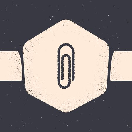 Grunge Paper clip icon isolated on grey background. Monochrome vintage drawing. Vector Illustration