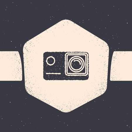 Grunge Action extreme camera icon isolated on grey background. Video camera equipment for filming extreme sports. Monochrome vintage drawing. Vector Illustration