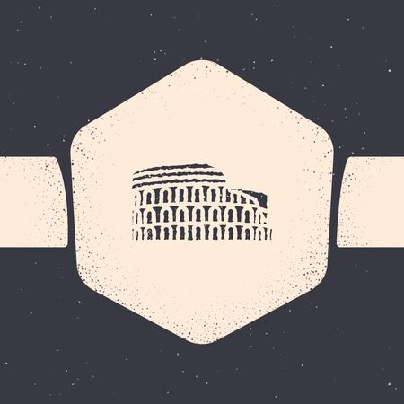 Grunge Coliseum in Rome, Italy icon isolated on grey background. Colosseum sign. Symbol of Ancient Rome, gladiator fights. Monochrome vintage drawing. Vector Illustration