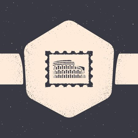 Grunge Postal stamp and Coliseum icon isolated on grey background. Colosseum sign. Symbol of Ancient Rome, gladiator fights. Monochrome vintage drawing. Vector Illustration
