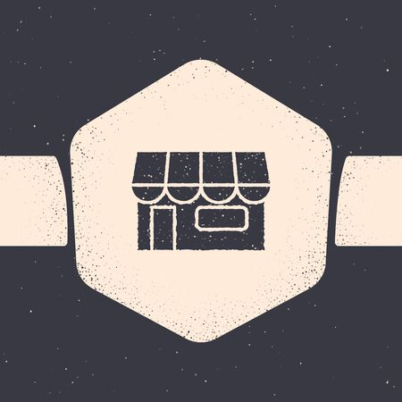Grunge Shopping building or market store icon isolated on grey background. Shop construction. Monochrome vintage drawing. Vector Illustration Vectores