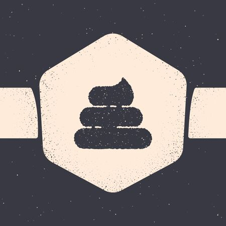 Grunge Shit icon isolated on grey background. Monochrome vintage drawing. Vector Illustration Ilustração