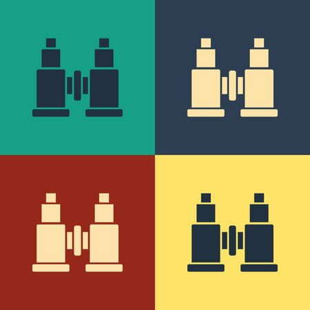 Color Binoculars icon isolated on color background. Find software sign. Spy equipment symbol. Vintage style drawing. Vector Illustration