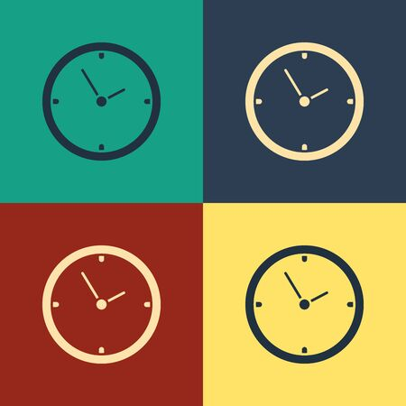 Color Clock icon isolated on color background. Time symbol. Vintage style drawing. Vector Illustration