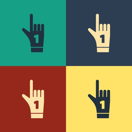 Color Number 1 one fan hand glove with finger raised icon isolated on color background. Symbol of team support in competitions. Vintage style drawing. Vector Illustration