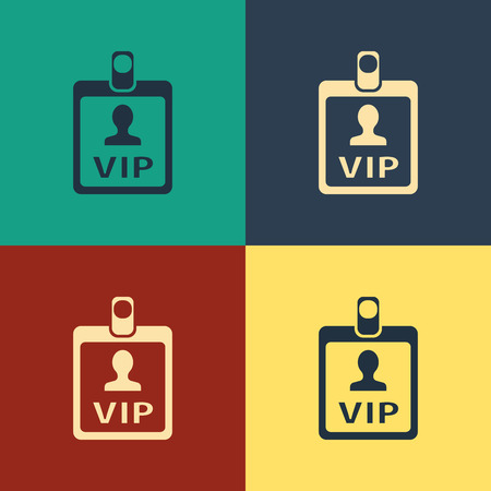 Color VIP badge icon isolated on color background. Vintage style drawing. Vector Illustration