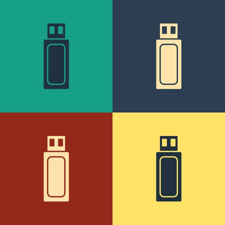 Color USB flash drive icon isolated on color background. Vintage style drawing. Vector Illustration