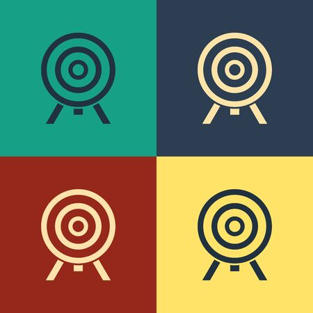 Color Target icon isolated on color background. Dart board sign. Archery board icon. Dartboard sign. Business goal concept. Vintage style drawing. Vector Illustration