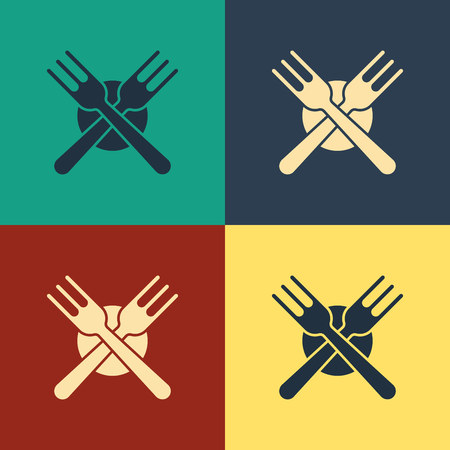 Color Crossed fork icon isolated on color background. Cutlery symbol. Vintage style drawing. Vector Illustration