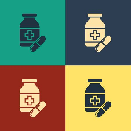 Color Medicine bottle and pills icon isolated on color background. Bottle pill sign. Pharmacy design. Vintage style drawing. Vector Illustration