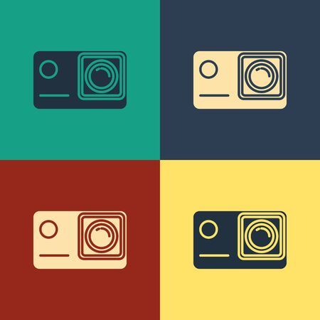 Color Action extreme camera icon isolated on color background. Video camera equipment for filming extreme sports. Vintage style drawing. Vector Illustration Иллюстрация