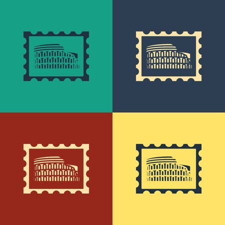 Color Postal stamp and Coliseum icon isolated on color background. Colosseum sign. Symbol of Ancient Rome, gladiator fights. Vintage style drawing. Vector Illustration Illustration