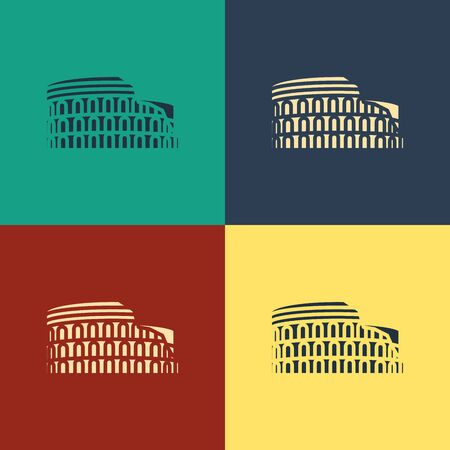 Color Coliseum in Rome, Italy icon isolated on color background. Colosseum sign. Symbol of Ancient Rome, gladiator fights. Vintage style drawing. Vector Illustration