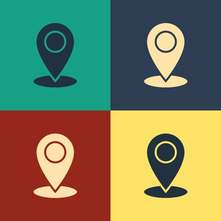 Color Map pin icon isolated on color background. Navigation, pointer, location, map, gps, direction, place, compass, contact, search concept. Vintage style drawing. Vector Illustration