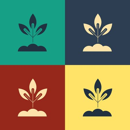Color Plant icon isolated on color background. Seed and seedling. Leaves sign. Leaf nature. Vintage style drawing. Vector Illustration Ilustração