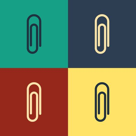 Color Paper clip icon isolated on color background. Vintage style drawing. Vector Illustration