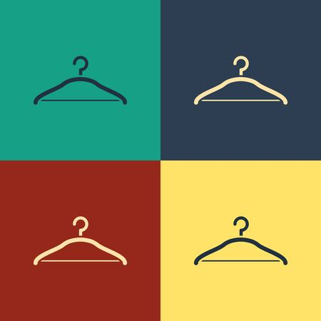 Color Hanger wardrobe icon isolated on color background. Cloakroom icon. Clothes service symbol. Laundry hanger sign. Vintage style drawing. Vector Illustration