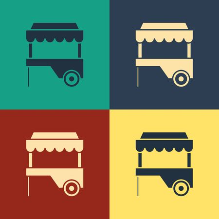 Color Fast street food cart with awning icon isolated on color background. Urban kiosk. Vintage style drawing. Vector Illustration